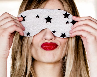 Sleep Mask Lingerie Eye Pillow / White Honeymoon Black Star Silk Lace / JANUS Sleep Mask - Marble