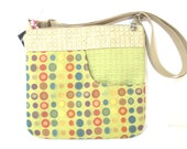 Small Hip Purse, Polka Dot Upholstery Fabric