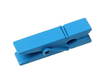 50 bulk package Small Painted Wood Clothespin Clip Findings, BLUE  fin0399