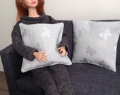 Set of 2 trendy pillows in grey with silver butterflies for one sixth scale dioramas