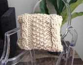 One Chunky Cable Knit Pillow in Beige for one sixth scale dollhouse or diorama