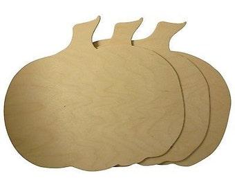 Wooden Cutout Large Pumpkin Unfinished Wood Woodpeckers 3 Pkg