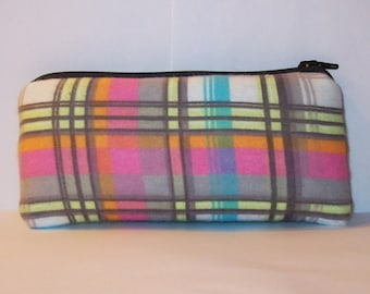 "Padded Pipe Pouch, Neon Pastel Plaid, Pipe Case, Pipe Bag, Padded Pipe Cozy, Stoner Gift, Cute Pouch, Hipster Bag, Small Pouch - 5.5"" SMALL"