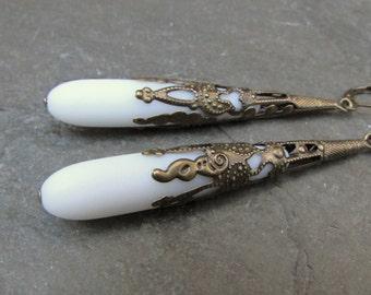 White sea glass extra long earrings  beach glass jewelry  bridesmaid earrings- teardrop  antique bronze