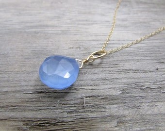 Blue Chalcedony Pendant, Charm alone or as Necklace, Dainty 14 k gold filled wire wrapped briolette teardrop