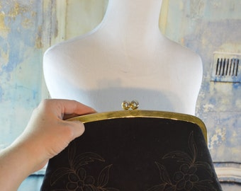 vintage stiched wool flowers black fabric clutch purse handbag