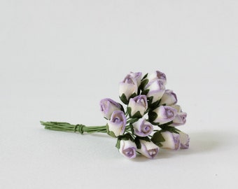 15 mm / 12 mixed purple and white paper  rose buds