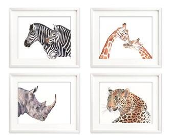 African animal watercolour print set of 4, zebra print, giraffe print, cheetah print, rhinoceros print, african animal nursery print 5 by 7