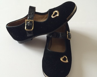 1960's Buster Brown Black Velvet Toddler Shoes (7.5)