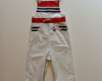 Vintage Nautical Whale Overalls (18 months)