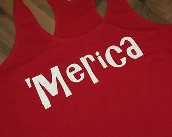 Merica Racerback Tank- White 'Merica