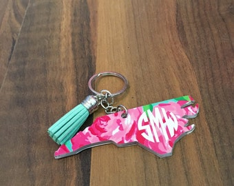 Lilly inspired State Keychain with tassel - Pick your pattern