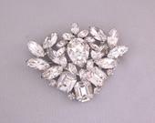Clear Rhinestone Brooch - Bridal Brooch - Vintage Wedding Jewelry - Rhinestone Statement Brooch