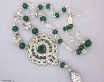 Repurposed Rhinestone Necklace - Art Deco Necklace - Green Statement Necklace - Unique Repurposed Jewelry