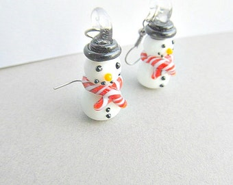 Snowman Dangle Earrings blown glass