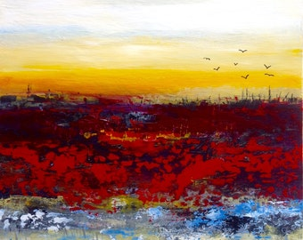 Australian landscape, acrylic painting, abstract art, Red landscape, painting on wood