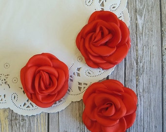 "Red Soft Satin Rose ""Heather"" Flowers | Small 2.25"" - 5.5cm | Wedding | Embellishment | Baby Headband | Applique | Wholesale Fabric Flower"