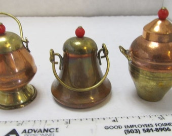 CLEARANCE - Copper and Brass Miniatures (3), Lidded Pots, with glass bead or red stone tops/knobs, Japan