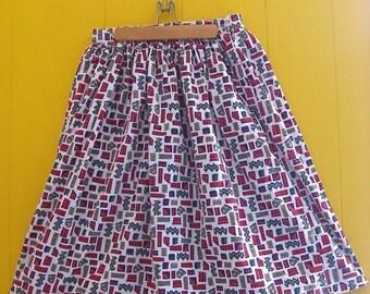 on sale Vintage 80s Skirt/90s Skirt/Geometric Pattern/Full Skirt/Chevron Pattern/Summer Clothing/Khazana Skirt/Medium Vintage Skirt/Patterne