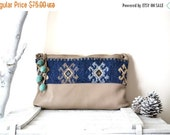 WINTER SALE Leather Zipper Clutch Handbag, Wife Gift, Girlfriend Gift, Gifts For Her, Leather Handbag, Tribal Clutch, Leather Evening Bag