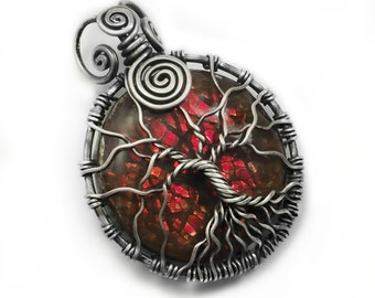 Red ammolite pendant, tree of life design handcrafted jewelry, 925 sterling silver Ammolite