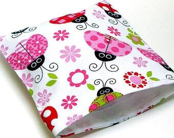 Reusable Sandwich Bag - Ladybug Pink Fabric Print