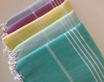 Fast shipment, Set of  5 Turkish hand Towel, Peshkir, towel , kitchen towel, grey , green , lilac , pink , mint, Christmas gift