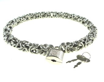 Heavy Metal Biker Choker - Chainmaille Byzantine Weave With Padlock