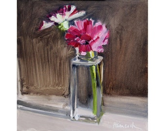 Zinnias and Square Glass Jar - Summer Bouquet - Vase of Pink Flowers