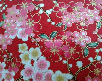 Japanese cherry blossoms and dew, red, gold metallic, fat quarter, pure cotton fabric