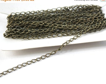 CLEARANCE Bulk Cable Chain Antiqued Brass Steel- 5 Meters (16.4 Feet) 5x3mm Twisted Links