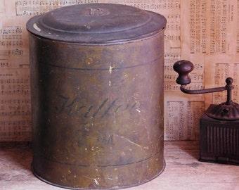 Antique German Primitive Coffee Canister, Kaffee Tin, Farmhouse Decor