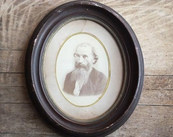 "Antique Wooden Oval Photo Frame, Older Man with Beard, 13 1/2 "" x 11 1/2 """