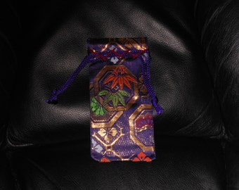 DRAWSTRING POUCHES  Vintage small Japanese woven pouches  Silk cotton  lined Ethnic patterns  3 x 5 5/8 inches