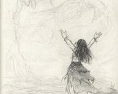 Great Spirit Prayer - Native American-Inspired Sketch Artwork Print - by Brandy Woods