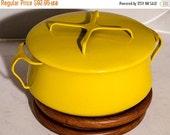 ON SALE Large Dansk Kobenstyle Dutch Oven, large vintage stew pot, Bright Yellow soup pot