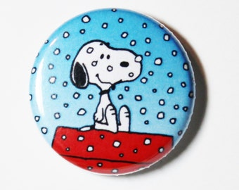 Snowing Snoopy - 1 inch Button, Pin or Magnet