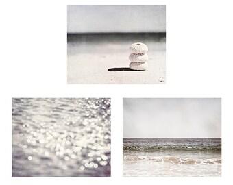 Neutral Beach Photo Set - Three Coastal Photographs, Grey Pale Seashore Photography, Light Gray Ocean Wall Art, Beach Picture Decor
