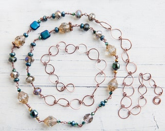 Multicolored Earth Tone Necklace, Blue, Earth Tone Necklace , Long Copper Necklace, One of A Kind, Bohemian, Long Necklace, Gift for Her