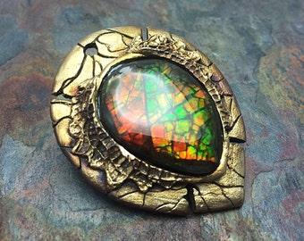 Fiery Ammolite Artisan Bronze PMC Pendant