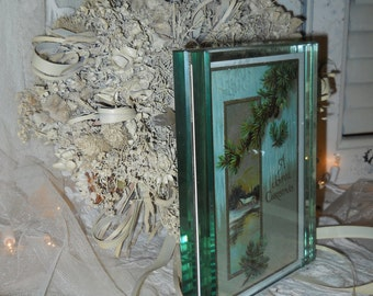 Vintage Double Thickness Glass Frame With 1917 Christmas Post Card Vintage Double Photo Frame Display Glass Frame
