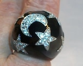 Moon & Stars Dome Ring, CZ Pavé over Black Enamel on .925 Silver, Size 8