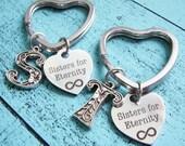 sister gift, gift for sister set of 2, sister keychain, best friends gift, bff best friend keychain, sisters for eternity, friendship gift
