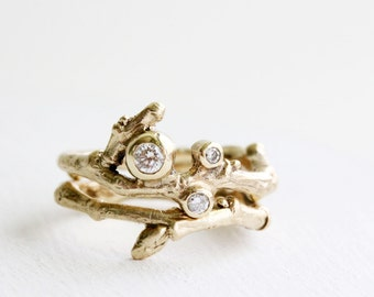 3 Diamonds 14K Yellow Gold, Engagement Rings,Twig Rings