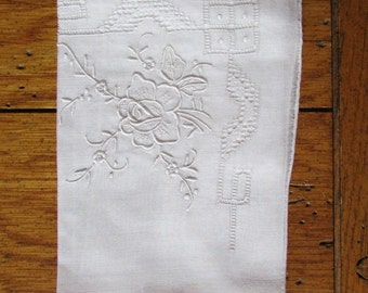Vintage Detailed Handkerchief with a rose detail in one corner