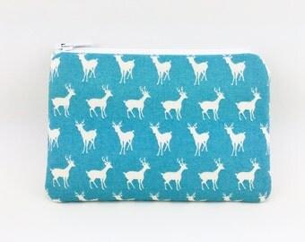 Deer Zipper Pouch, Little Coin Purse, Card Wallet, Small Gadget Case, Gift idea, Padded, Pale Blue