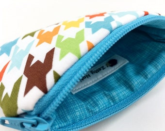 SALE - Small Zipper Pouch, Houndstooth Pouch, Little Coin Purse, Padded, Card Wallet, Gift for her