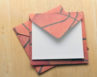 Basketball Mini Cards, Set of 4, Blank Cards, Gift Card, Gift Tag, Enclosure Card, Journaling Card, Scrapbooking, Party Favor,