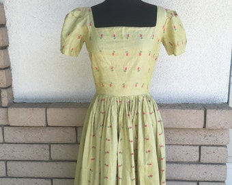 50s Fit and Flare Dress Sage Green with Red Flowers Size XS