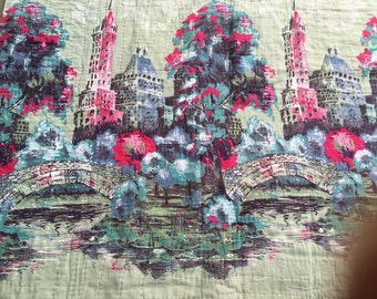 50s 60s Hand Stitched European Countryside Quilt